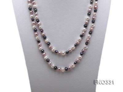 8-9mm multicolor round freshwater pearl necklace FNO331 Image 2