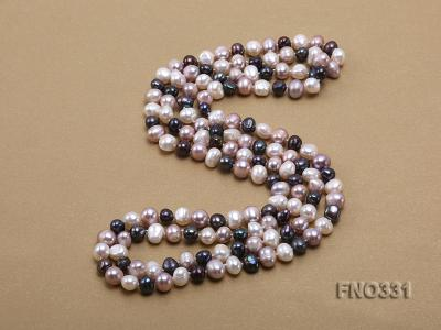8-9mm multicolor round freshwater pearl necklace FNO331 Image 3