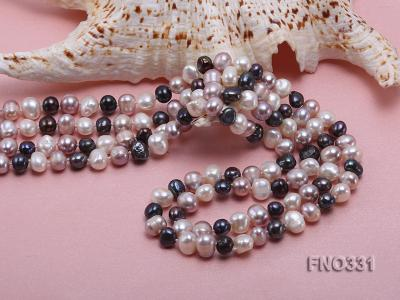 8-9mm multicolor round freshwater pearl necklace FNO331 Image 5