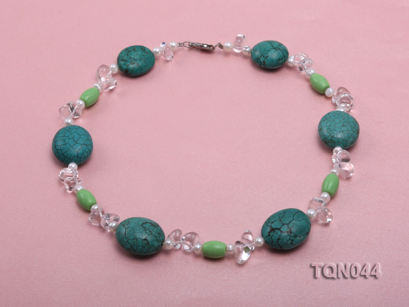 25x30mm green egg-shaped turquoise, white pearl and crystal necklace big Image 1