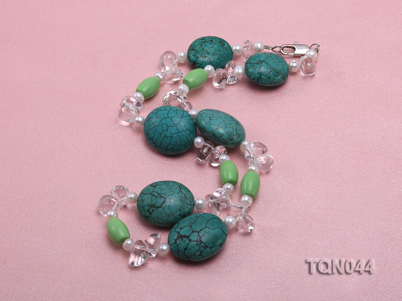 25x30mm green egg-shaped turquoise, white pearl and crystal necklace big Image 2