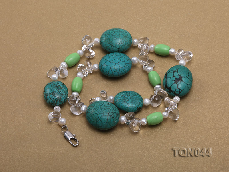 25x30mm green egg-shaped turquoise, white pearl and crystal necklace big Image 3