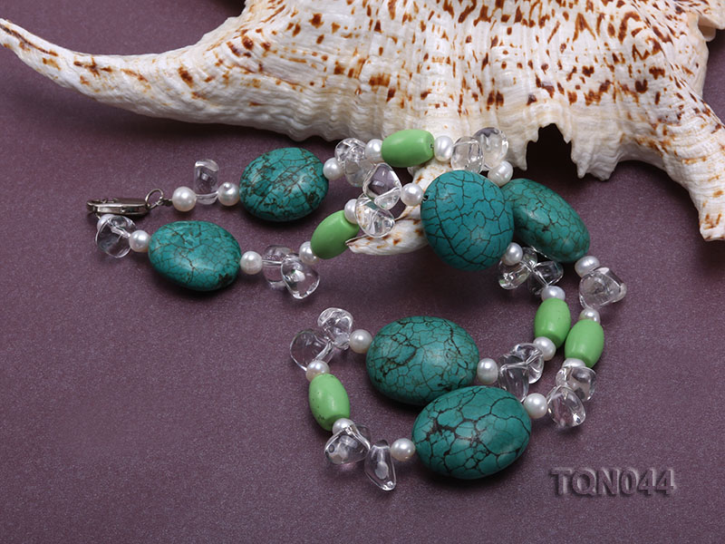 25x30mm green egg-shaped turquoise, white pearl and crystal necklace big Image 4