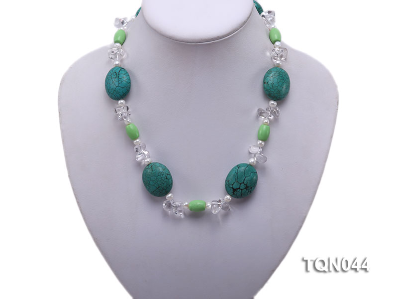 25x30mm green egg-shaped turquoise, white pearl and crystal necklace big Image 5