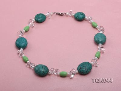 25x30mm green egg-shaped turquoise, white pearl and crystal necklace TQN044 Image 1