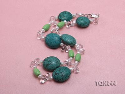 25x30mm green egg-shaped turquoise, white pearl and crystal necklace TQN044 Image 2