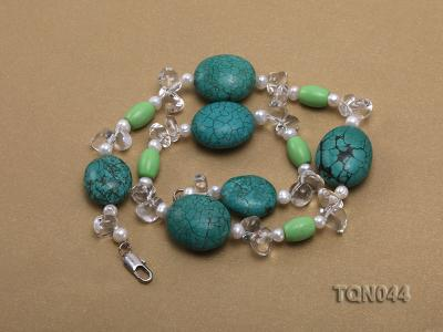 25x30mm green egg-shaped turquoise, white pearl and crystal necklace TQN044 Image 3