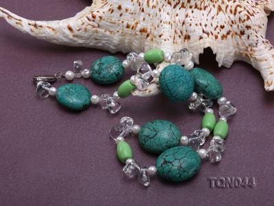25x30mm green egg-shaped turquoise, white pearl and crystal necklace TQN044 Image 4