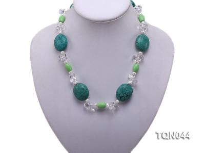 25x30mm green egg-shaped turquoise, white pearl and crystal necklace TQN044 Image 5
