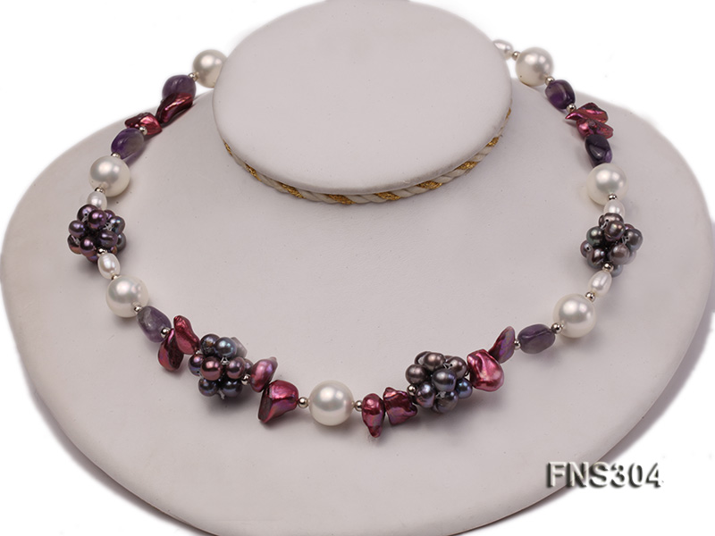 multicolor freshwater pearl with natural amethyst single strand necklace big Image 1