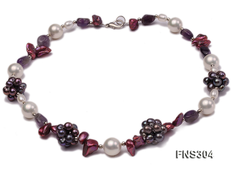 multicolor freshwater pearl with natural amethyst single strand necklace big Image 2