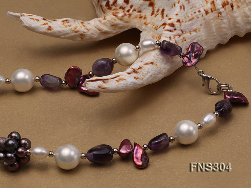 multicolor freshwater pearl with natural amethyst single strand necklace big Image 4