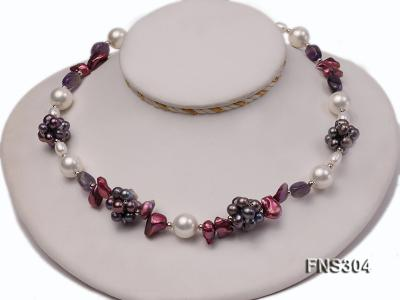 multicolor freshwater pearl with natural amethyst single strand necklace FNS304 Image 1