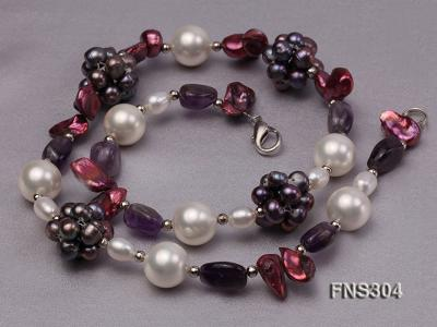 multicolor freshwater pearl with natural amethyst single strand necklace FNS304 Image 3