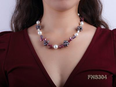 multicolor freshwater pearl with natural amethyst single strand necklace FNS304 Image 5