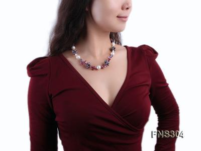 multicolor freshwater pearl with natural amethyst single strand necklace FNS304 Image 6