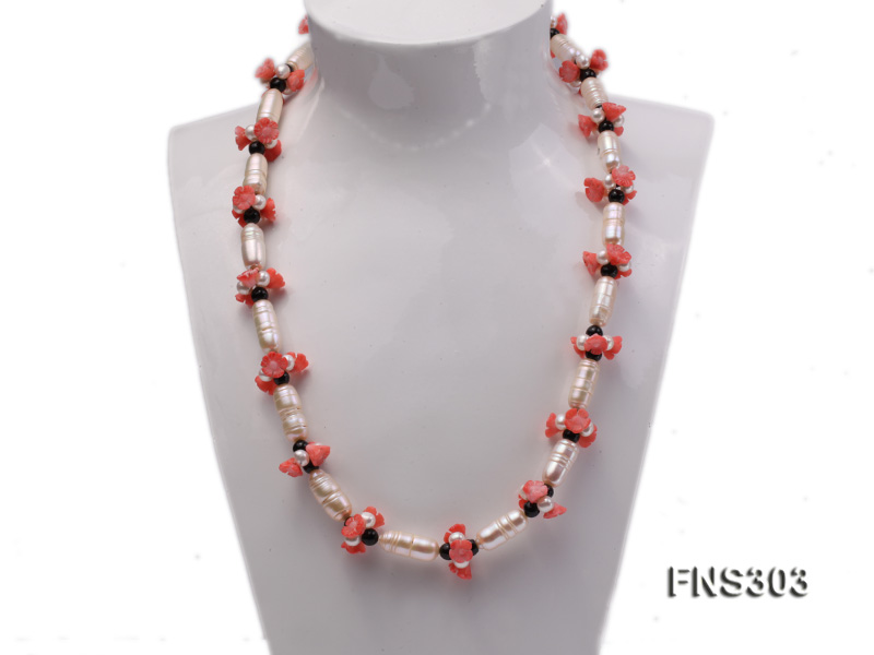 natural white baroque freshwater pearl with black agate red coral flower necklace big Image 1