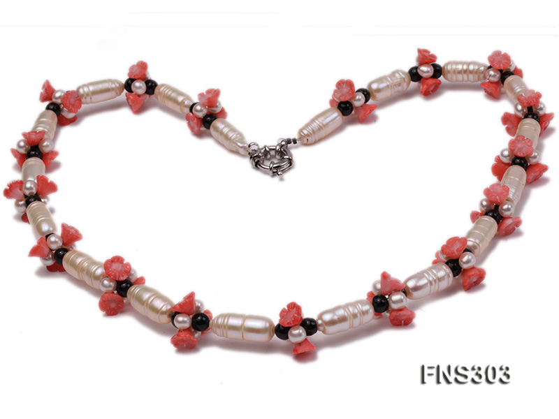 natural white baroque freshwater pearl with black agate red coral flower necklace big Image 3