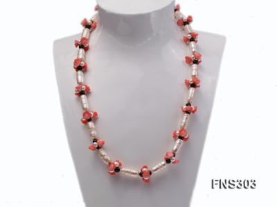 natural white baroque freshwater pearl with black agate red coral flower necklace FNS303 Image 1