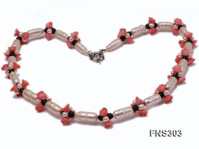 natural white baroque freshwater pearl with black agate red coral flower necklace FNS303 Image 3