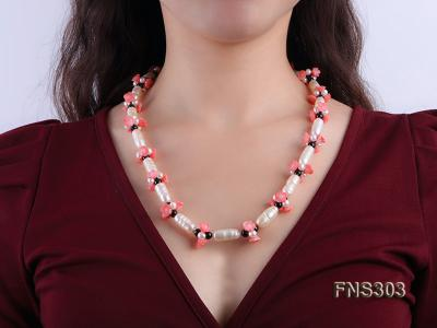 natural white baroque freshwater pearl with black agate red coral flower necklace FNS303 Image 5