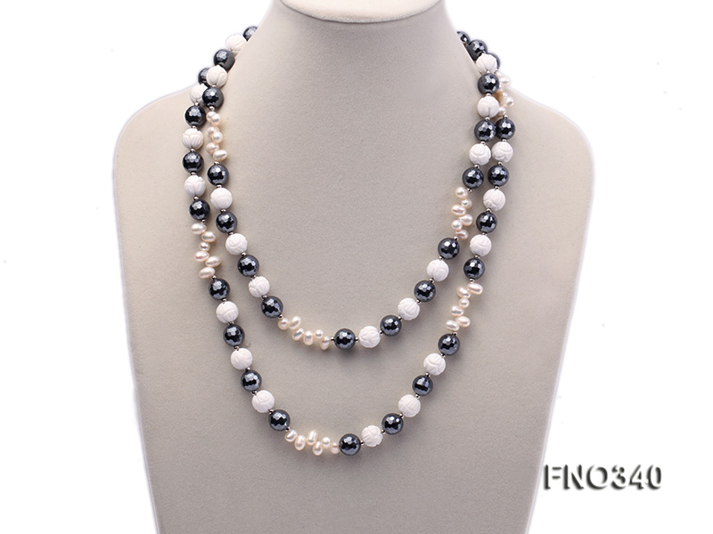 12mm white oval  freshwater pearl and smoky quartz and tridacnidae shell necklace big Image 2