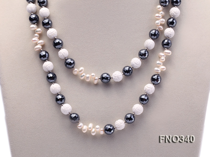12mm white oval  freshwater pearl and smoky quartz and tridacnidae shell necklace big Image 3