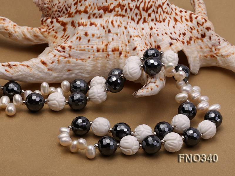 12mm white oval  freshwater pearl and smoky quartz and tridacnidae shell necklace big Image 6