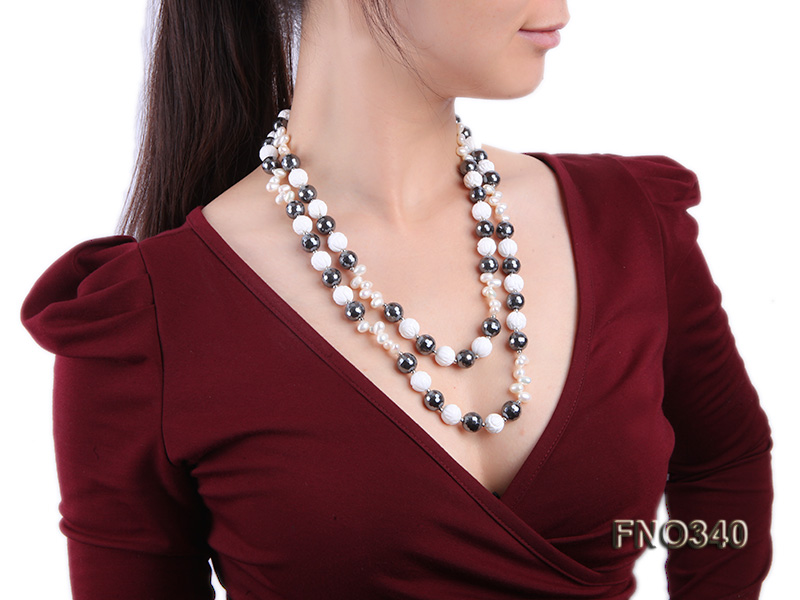12mm white oval  freshwater pearl and smoky quartz and tridacnidae shell necklace big Image 7