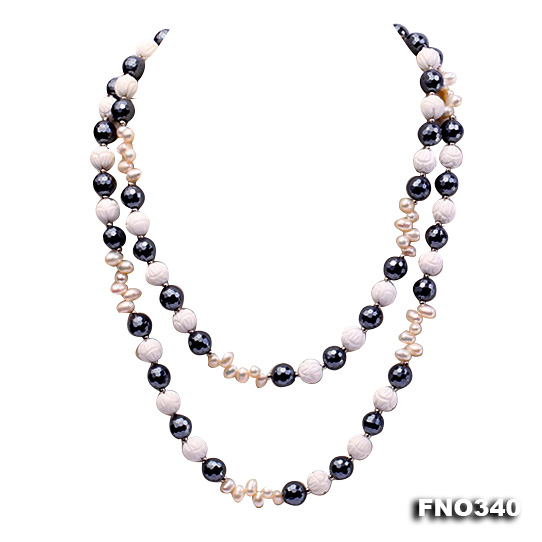 12mm white oval  freshwater pearl and smoky quartz and tridacnidae shell necklace big Image 1