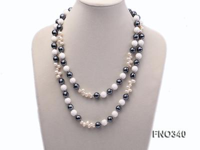 12mm white oval  freshwater pearl and smoky quartz and tridacnidae shell necklace FNO340 Image 2