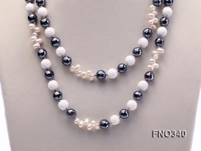 12mm white oval  freshwater pearl and smoky quartz and tridacnidae shell necklace FNO340 Image 3