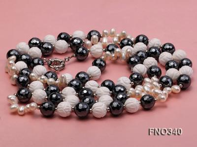 12mm white oval  freshwater pearl and smoky quartz and tridacnidae shell necklace FNO340 Image 4