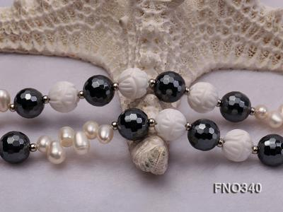12mm white oval  freshwater pearl and smoky quartz and tridacnidae shell necklace FNO340 Image 5