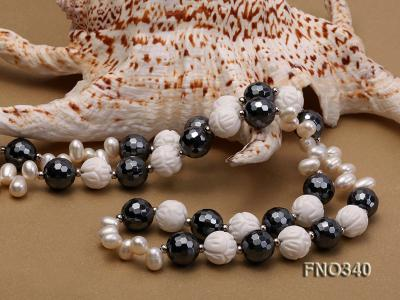 12mm white oval  freshwater pearl and smoky quartz and tridacnidae shell necklace FNO340 Image 6