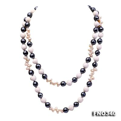 12mm white oval  freshwater pearl and smoky quartz and tridacnidae shell necklace FNO340 Image 1
