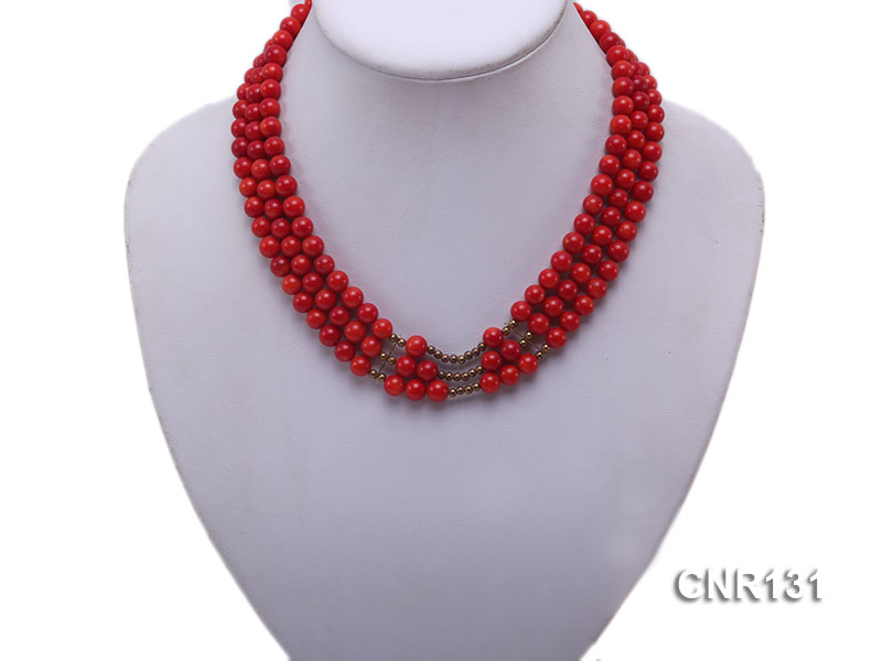 7mm Round Red Coral Three-Strand Necklace big Image 2