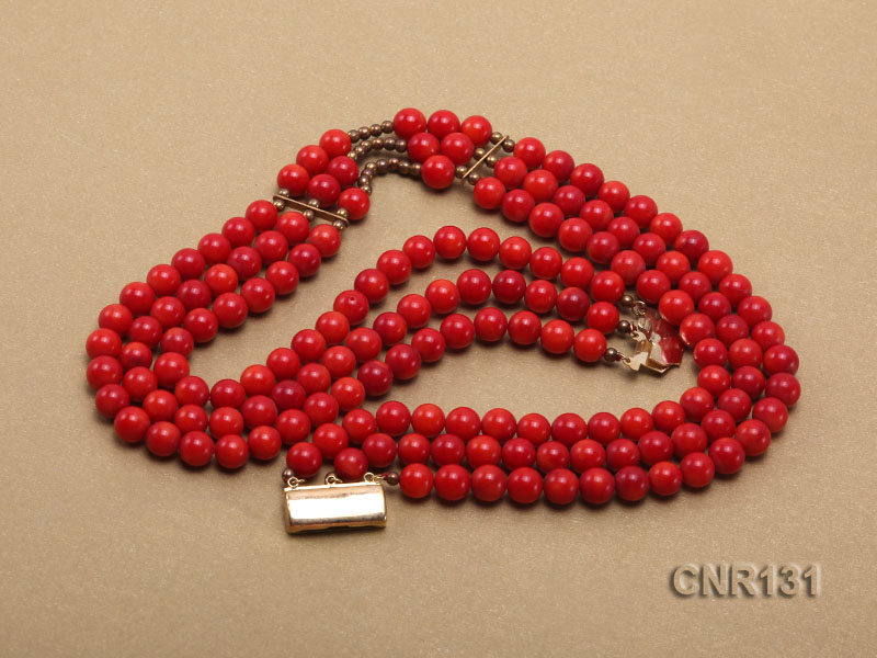 7mm Round Red Coral Three-Strand Necklace big Image 4