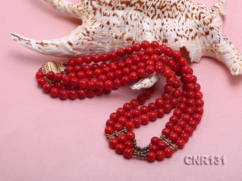 7mm Round Red Coral Three-Strand Necklace big Image 5