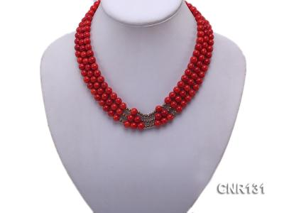 7mm Round Red Coral Three-Strand Necklace CNR131 Image 2
