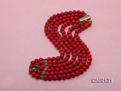 7mm Round Red Coral Three-Strand Necklace CNR131 Image 3