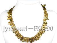 Classic 8x25mm Golden Irregular Freshwater Pearl Necklace FNI190