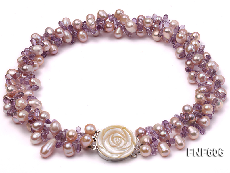 Three-strand 8x11mm Lavender Side-drilled Freshwater Pearl and Purple Quartz beads Necklace big Image 1