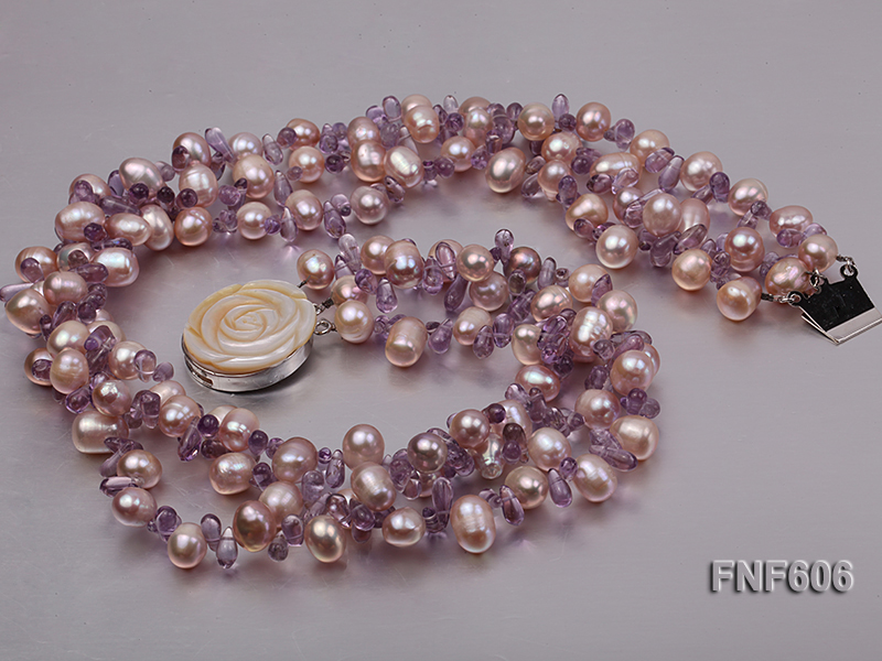 Three-strand 8x11mm Lavender Side-drilled Freshwater Pearl and Purple Quartz beads Necklace big Image 2