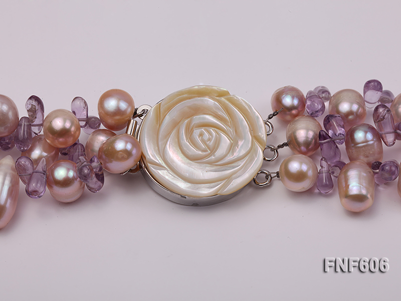 Three-strand 8x11mm Lavender Side-drilled Freshwater Pearl and Purple Quartz beads Necklace big Image 3