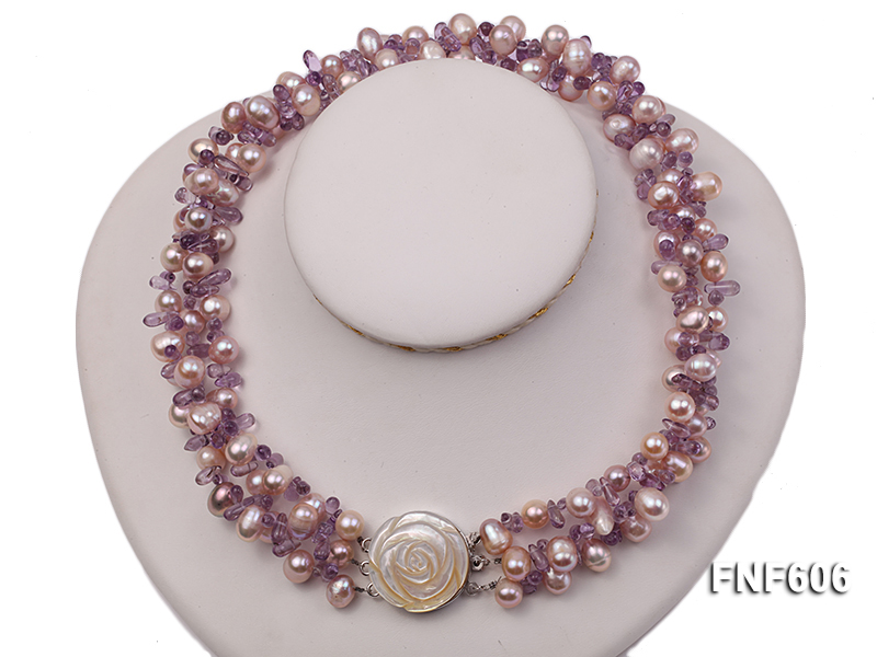 Three-strand 8x11mm Lavender Side-drilled Freshwater Pearl and Purple Quartz beads Necklace big Image 4