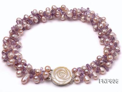 Three-strand 8x11mm Lavender Side-drilled Freshwater Pearl and Purple Quartz beads Necklace FNF606 Image 1