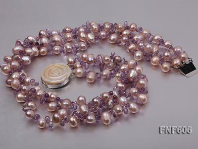 Three-strand 8x11mm Lavender Side-drilled Freshwater Pearl and Purple Quartz beads Necklace FNF606 Image 2