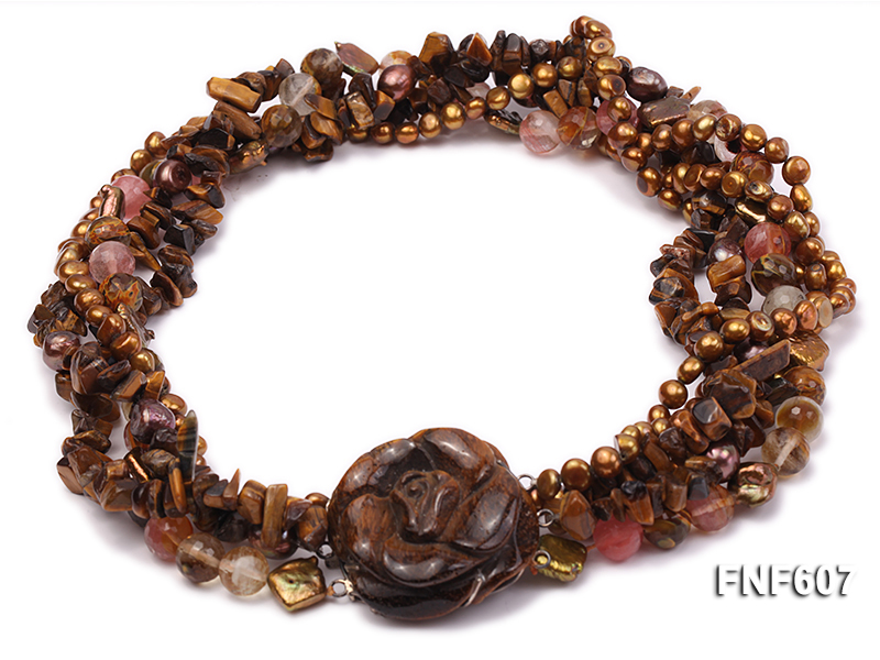 Multi-strand 6-7mm Coffee Freshwater Pearl,Tiger-eye,and Cherry Quartz Necklace big Image 1