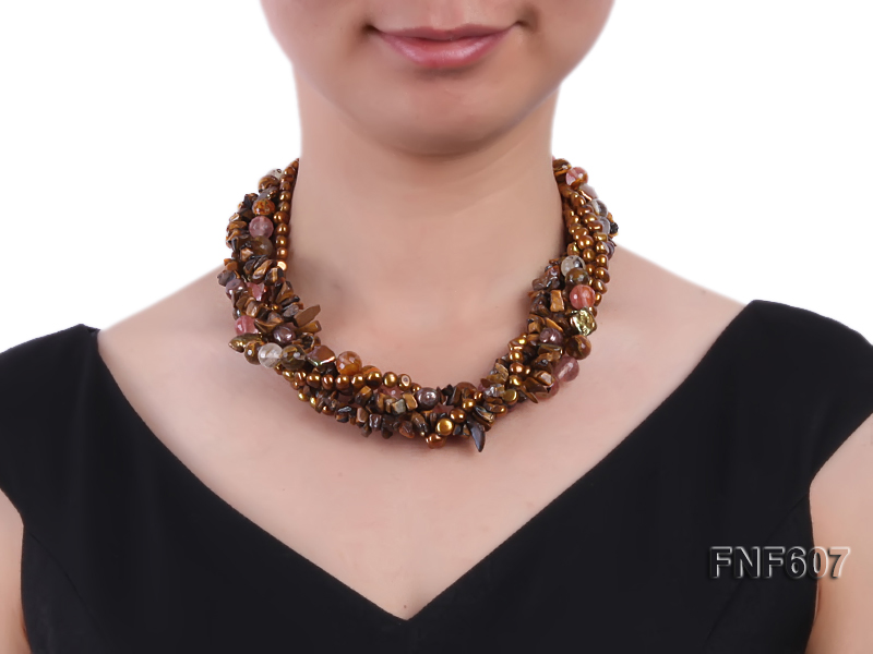 Multi-strand 6-7mm Coffee Freshwater Pearl,Tiger-eye,and Cherry Quartz Necklace big Image 5